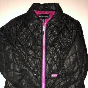 Girls' Black Quilted Mid-Weight Jacket, Size7/8